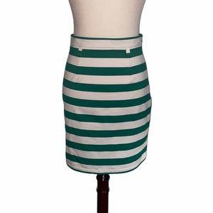 Cremieux Anthro Green Striped Knit Mini Skirt - XS